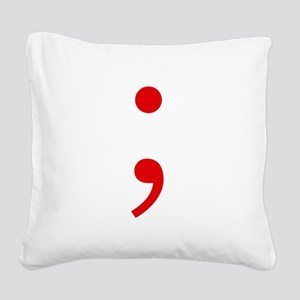 Semicolon Square Canvas Pillow