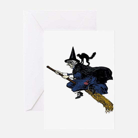 Witch On Broom Clr Greeting Cards