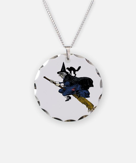 Witch On Broom Clr Necklace