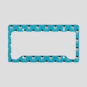 Turquoise Blue Jolly Roger Pattern License Plate H