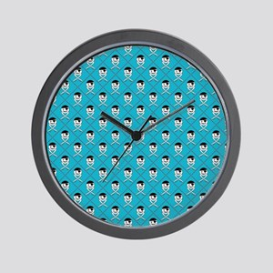 Turquoise Blue Jolly Roger Pattern Wall Clock