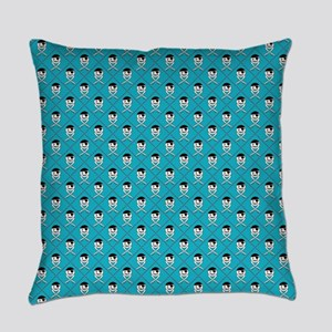 Turquoise Blue Jolly Roger Pattern Everyday Pillow