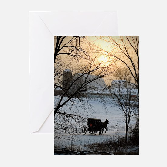 Winter Amish Sunset s Greeting Cards