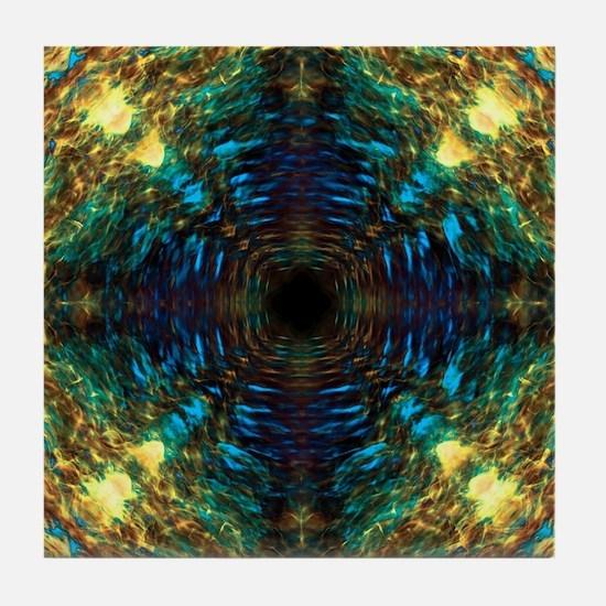 Cute Sapphire blue and black Tile Coaster