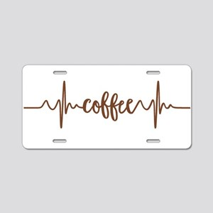 COFFEE HEARTBEAT Aluminum License Plate