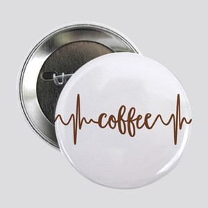 """COFFEE HEARTBEAT 2.25"""" Button (10 pack)"""