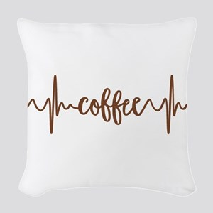 COFFEE HEARTBEAT Woven Throw Pillow