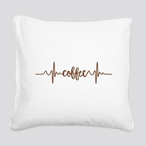 COFFEE HEARTBEAT Square Canvas Pillow