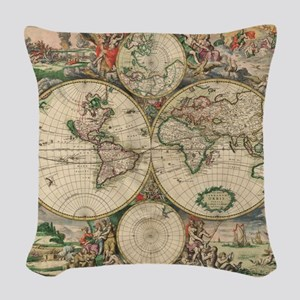 Antique World Map Woven Throw Pillow