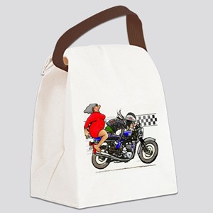 Motorcycle Rider and Mother in La Canvas Lunch Bag