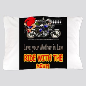 motorcycle rider with mother in law Pillow Case