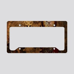 Steampunk, noble design with heart License Plate H