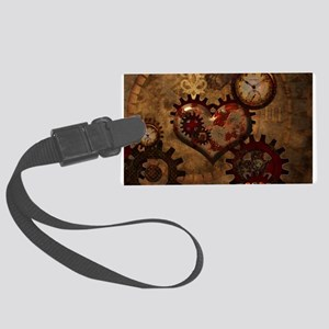 Steampunk, noble design with heart Luggage Tag