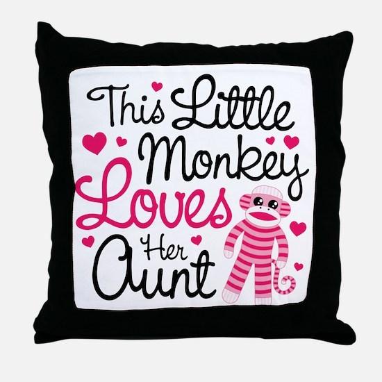 Monkey Loves Aunt Throw Pillow