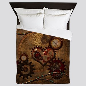 Steampunk, noble design with heart Queen Duvet