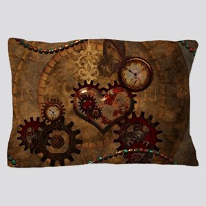 Steampunk, noble design with heart Pillow Case