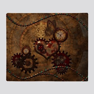 Steampunk, noble design with heart Throw Blanket