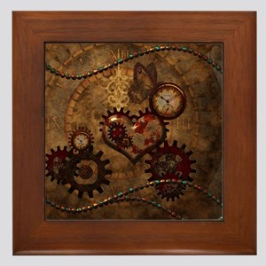 Steampunk, noble design with heart Framed Tile