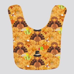happy thanksgiving turkey Polyester Baby Bib