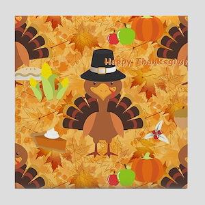 happy thanksgiving turkey Tile Coaster