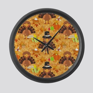 happy thanksgiving turkey Large Wall Clock