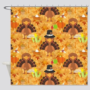 happy thanksgiving turkey Shower Curtain