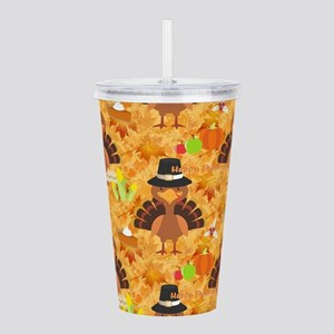happy thanksgiving tur Acrylic Double-wall Tumbler