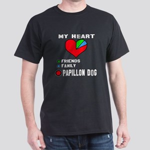 My Heart, Friend, Family Papillon Dog Dark T-Shirt