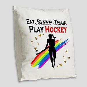 HOCKEY GIRL Burlap Throw Pillow
