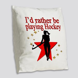 HOCKEY GIRL Burlap Throw Pillow