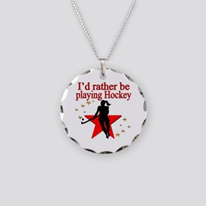 HOCKEY GIRL Necklace Circle Charm