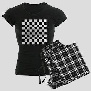 Black and White Checkered Pa Women's Dark Pajamas