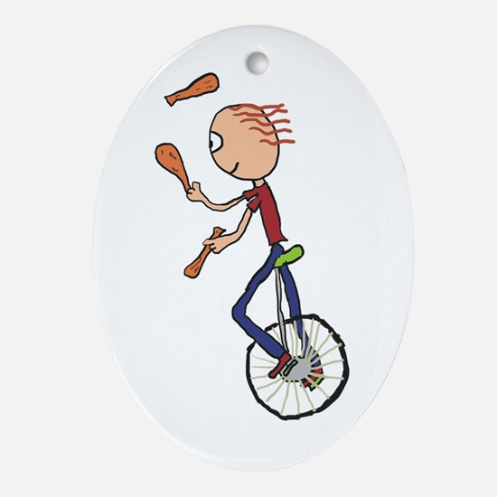 Unicycle Juggler Oval Ornament