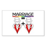 MARRIAGE EQUALS HEART PLUS HE Sticker (Rectangular
