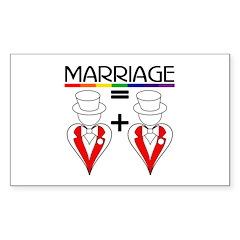 MARRIAGE EQUALS HEART PLUS HE Sticker (Rectangular