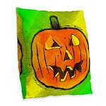 Halloween Pumpkin Burlap Throw Pillow