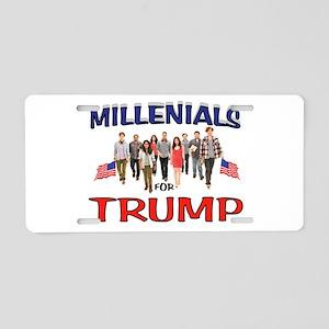 MILLENIALS FOR TRUMP Aluminum License Plate