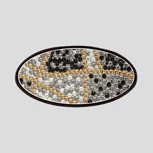 silver rhinestone art nouveau Patch