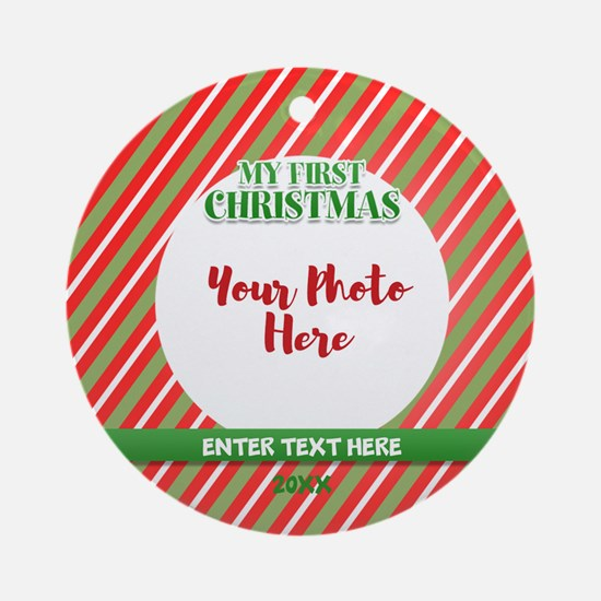 Red First Christmas Personalized Round Ornament
