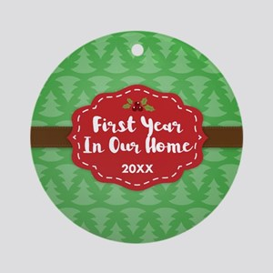 First Home Personalized Round Ornament