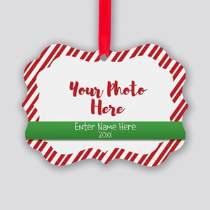 Candy Cane Personalized Picture Ornament