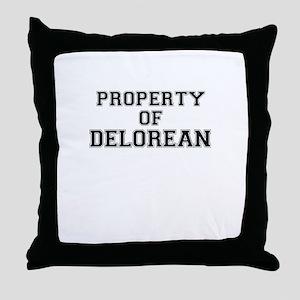 Property of DELOREAN Throw Pillow