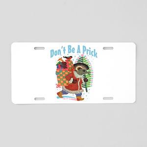 Naughty Christmas hedgehog Aluminum License Plate