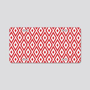 Red And White Diamonds Aluminum License Plate