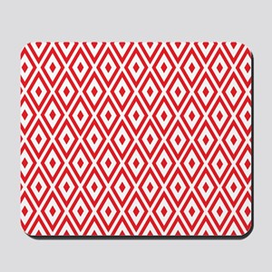 Red And White Diamonds Mousepad