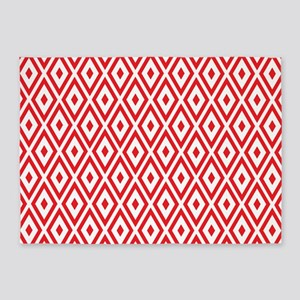 Red And White Diamonds 5'x7'Area Rug