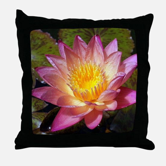 Lovely Pink Water Lily Throw Pillow