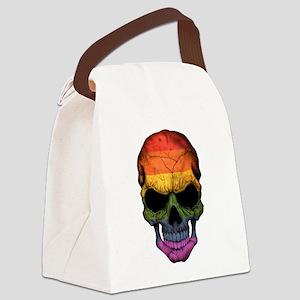 Gay Pride Rainbow Flag Skull Canvas Lunch Bag