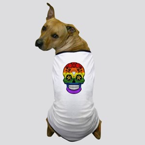 Gay Pride Rainbow Flag Sugar Skull with Roses Dog