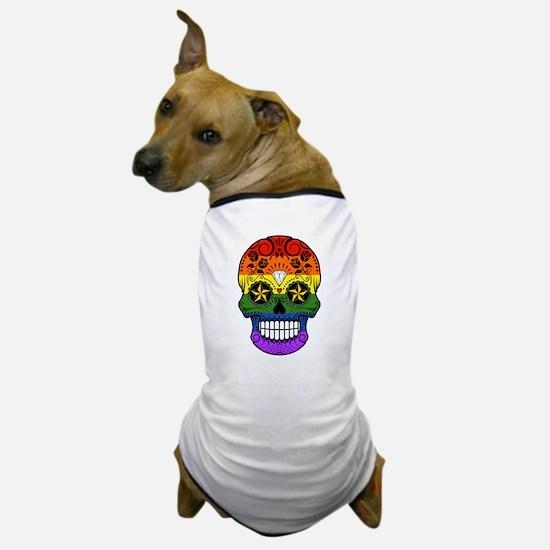 Gay Pride Rainbow Flag Sugar Skull with Roses Dog